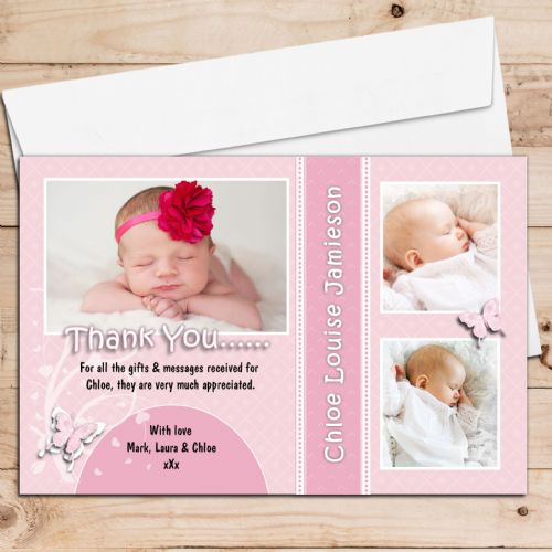 10 Personalised Christening / New Baby / Birthday Thank you PHOTO Cards N187 Pink Butterfly